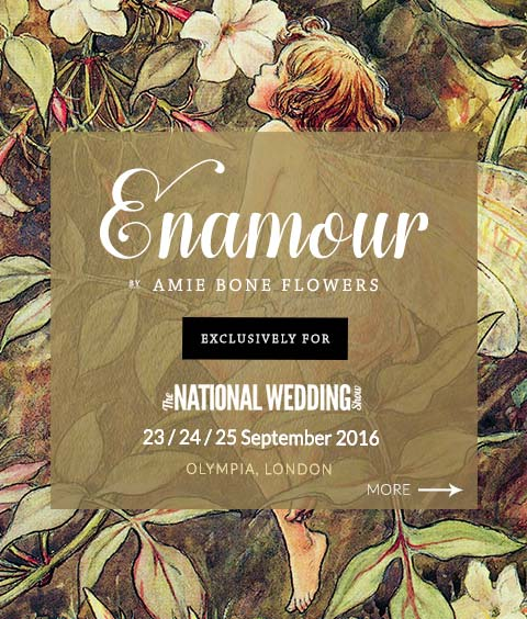 Enamour by Amie Bone Flowers, exclusively for The National Wedding Show, 23rd, 24th, 25th September 2016. More.