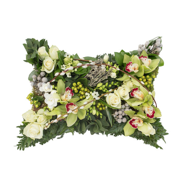 Woodland Themed Funeral Pillow Flower Arrangement