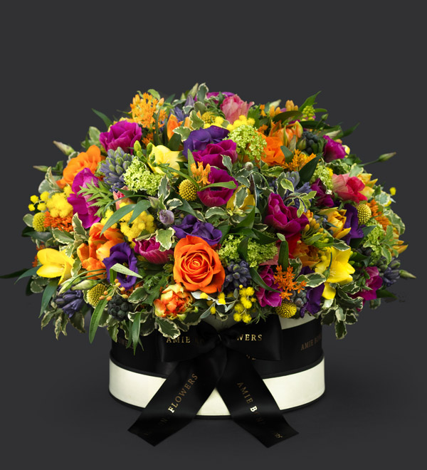 Rebirth Spring Hat Box Bouquet by Amie Bone Flowers