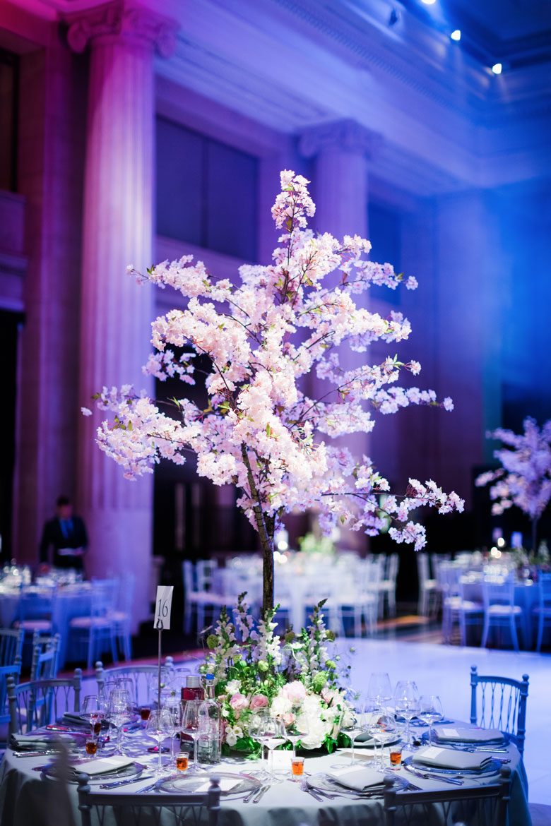 cherry blossom tree luxury wedding flowers at banking hall in cornhill london by amie bone flowers