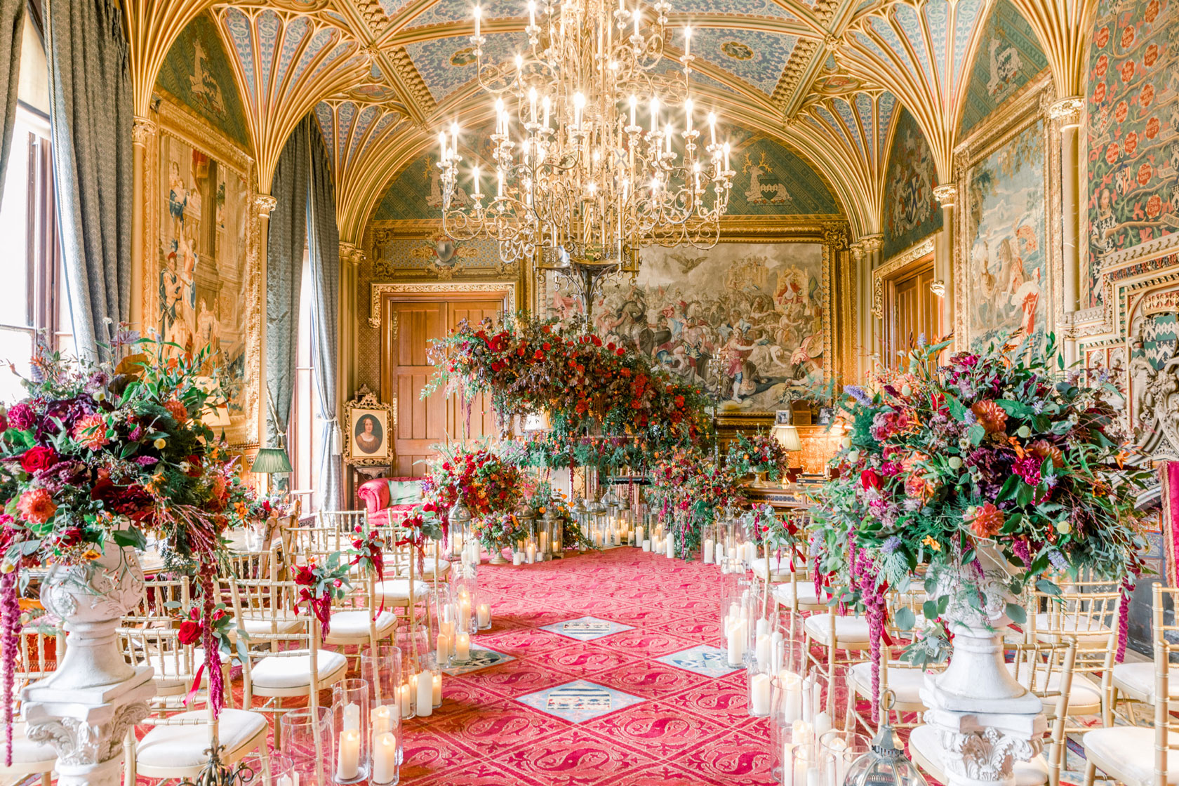An ornate regal ceremony in a castle fit for a royal couple