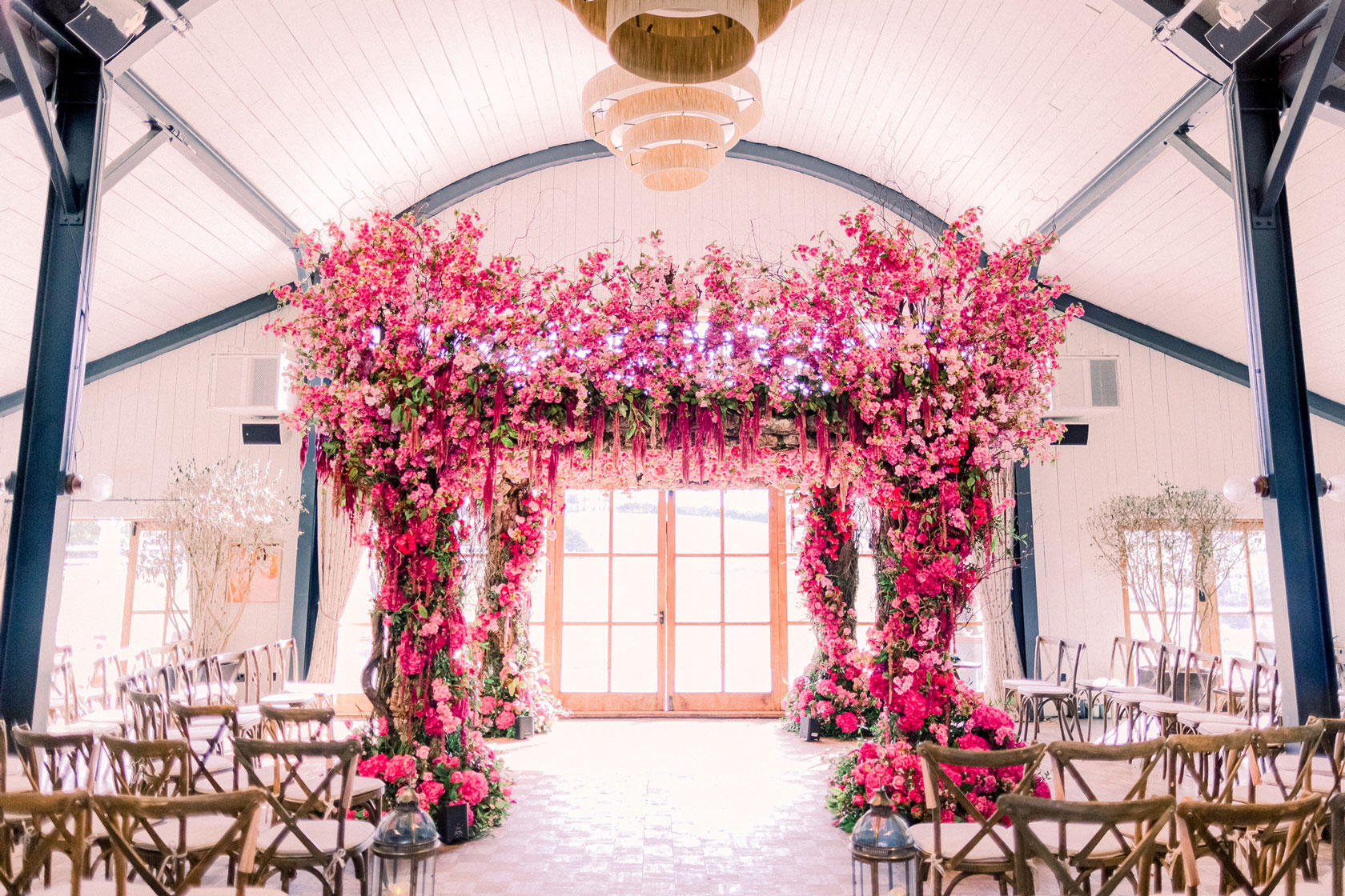 Pink wedding chuppah